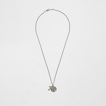 Silver colour coin and cross necklace