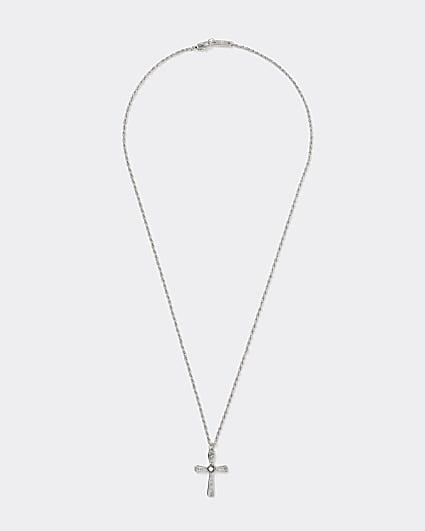 Silver colour cross pendant necklace