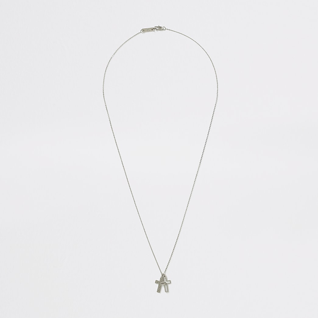 Silver colour cross pendant necklace