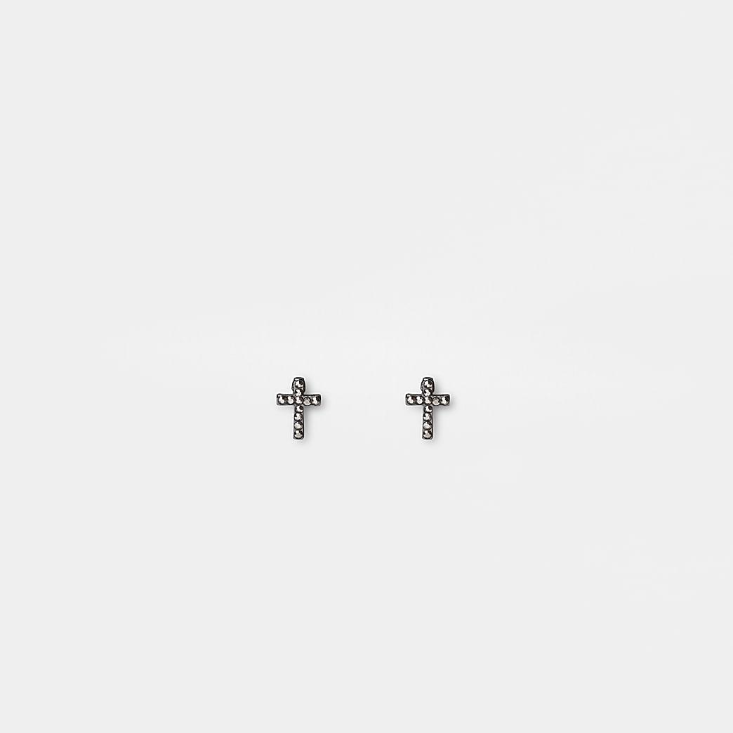 Silver colour cross stud earrings