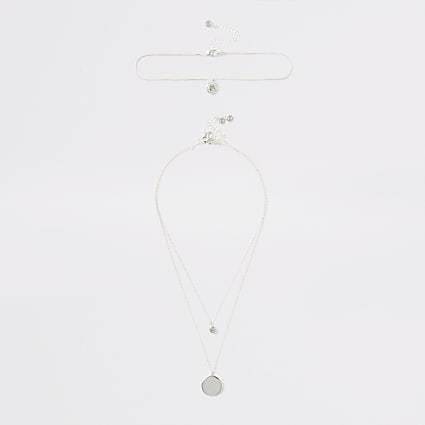 Silver colour crystal drop layered necklace