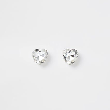 ​Silver colour crystal heart stud earrings