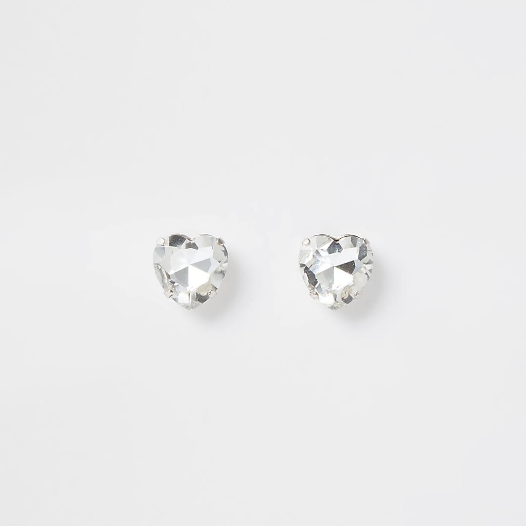 Silver colour crystal heart stud earrings