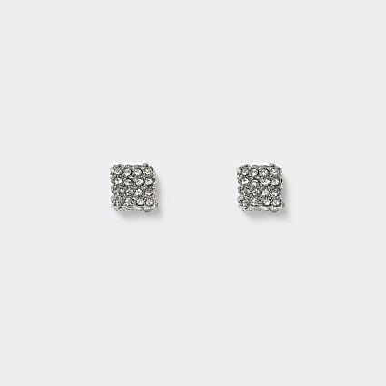 Silver colour crystal stud earrings