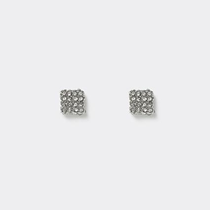 Silver colour crystal stud earrings
