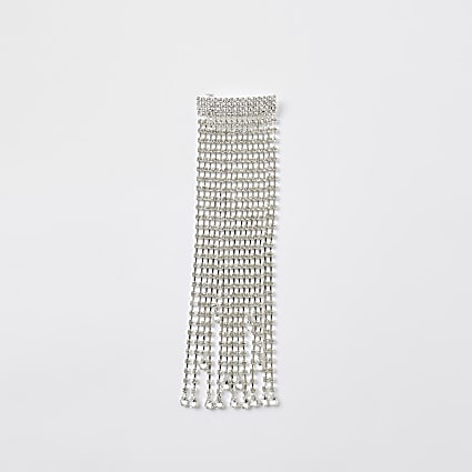 Silver colour cup chain tassel hair clip