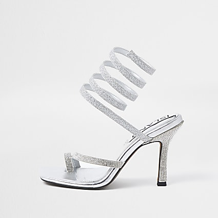 Silver colour diamante ankle wrap heels