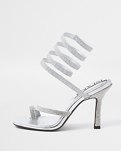 Silver colour diamante ankle wrap heels