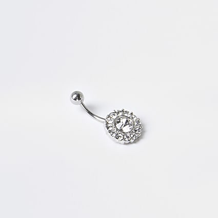 Silver colour diamante belly bar