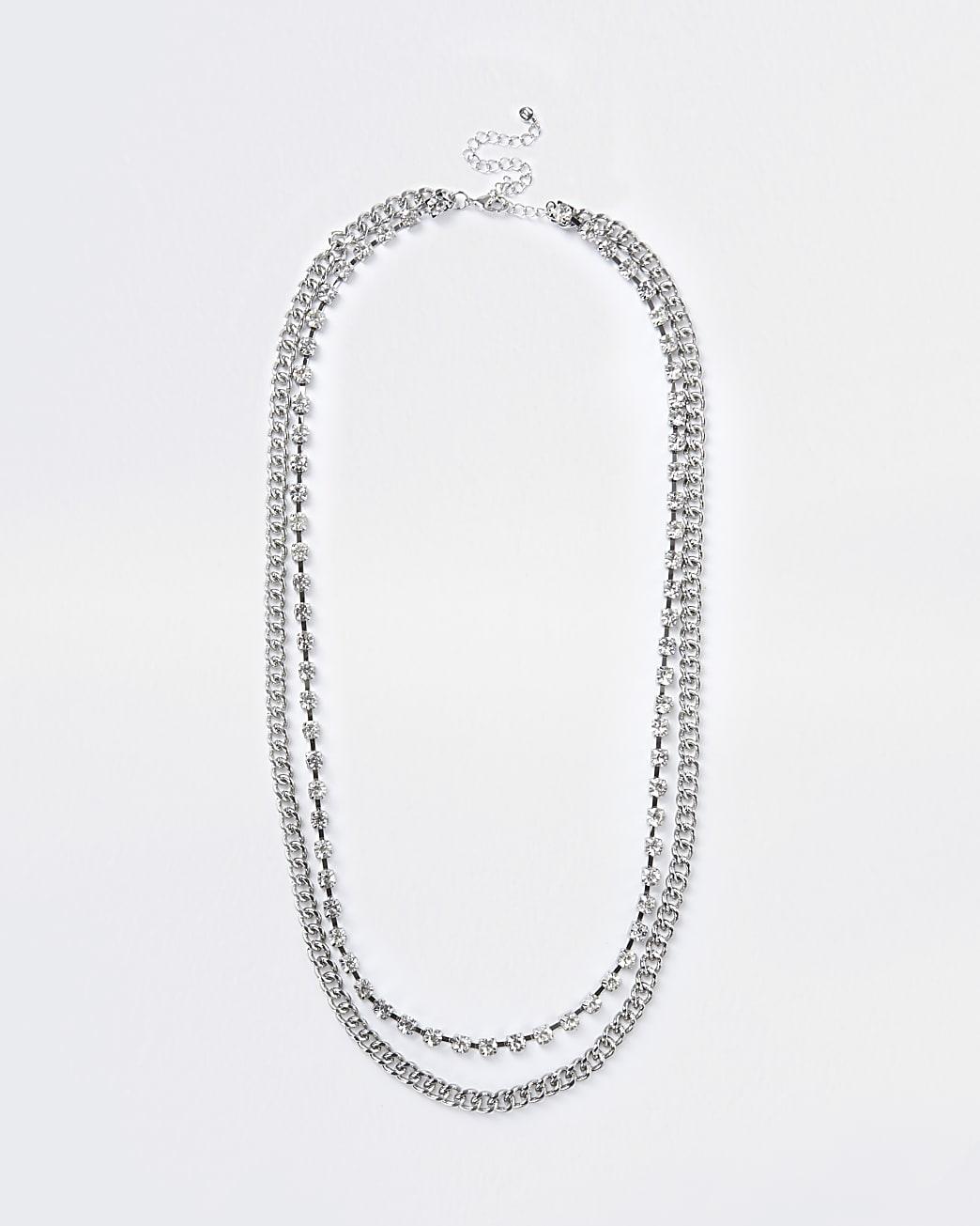 Silver colour diamante belly chain