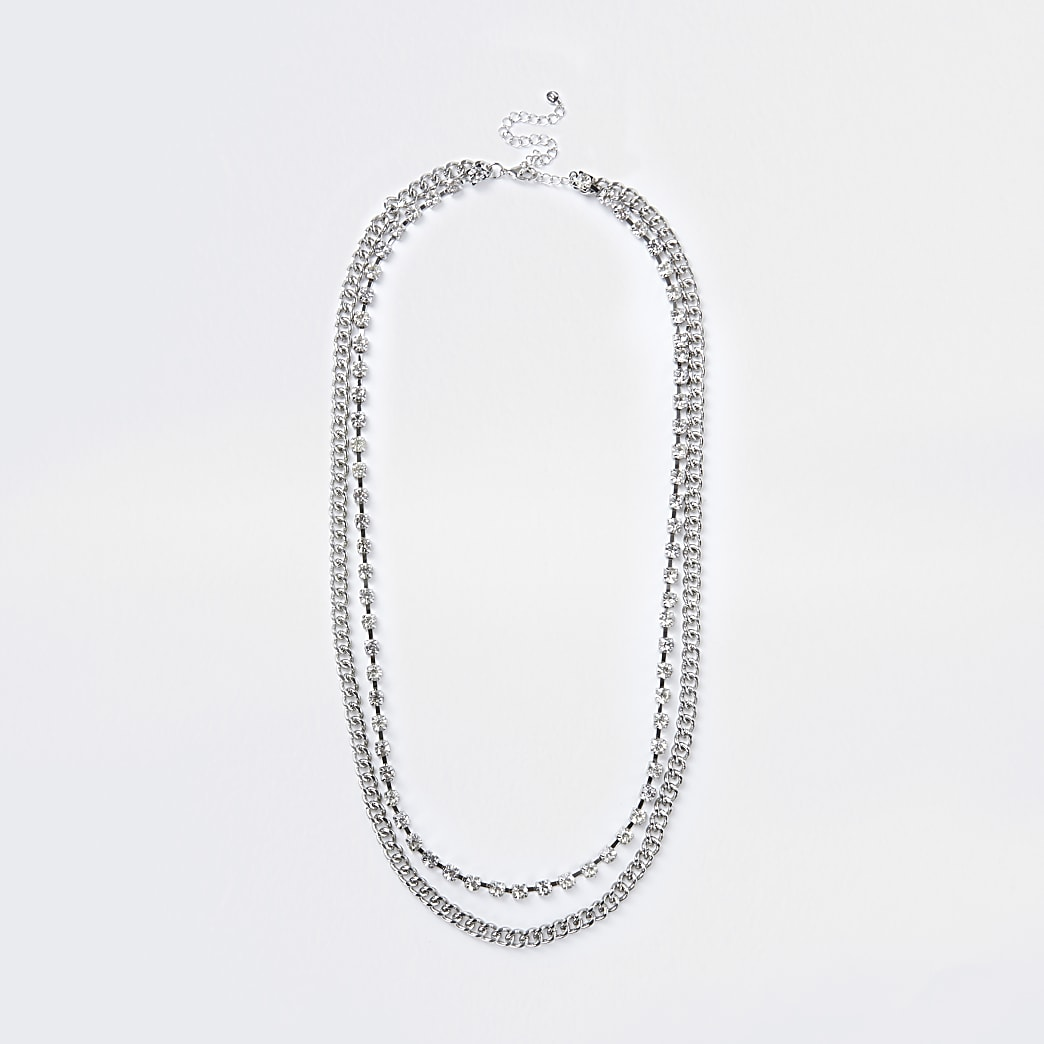Silver colour diamante belly chain