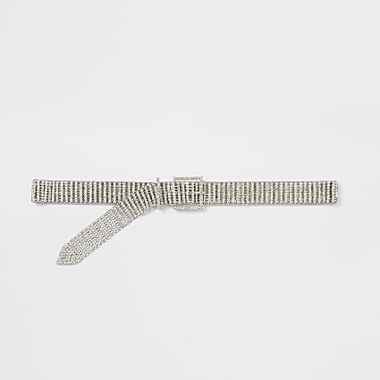 Silver colour diamante belt