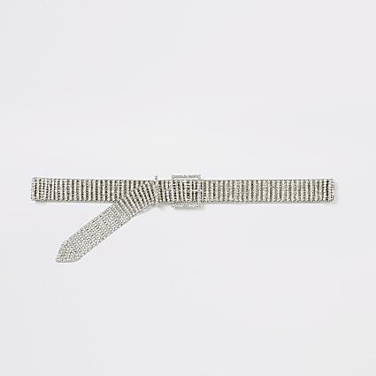 Silver colour diamante belt