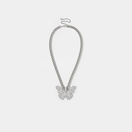 Silver colour diamante butterfly necklace