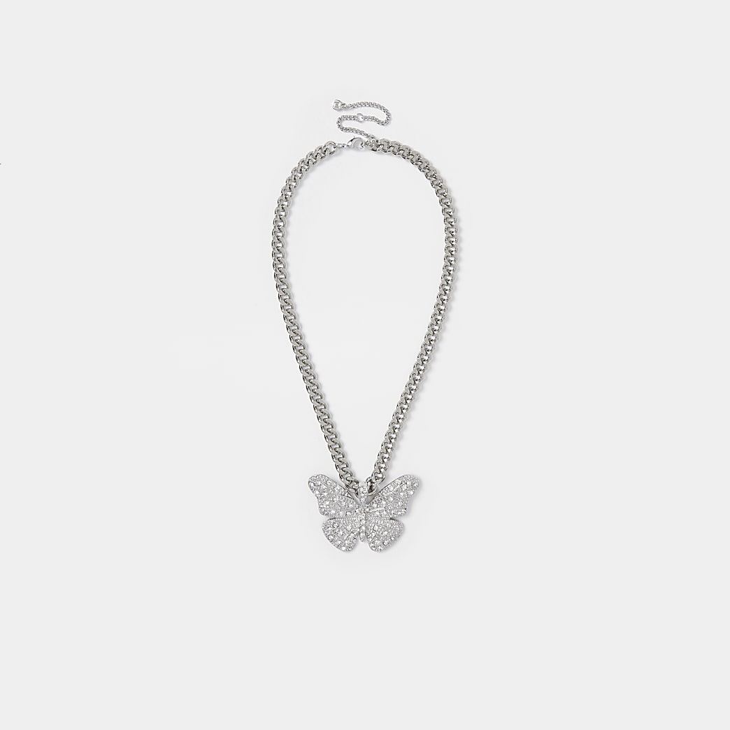 Silver colour diamante butterfly necklace