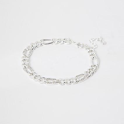 Silver colour diamante chain anklet