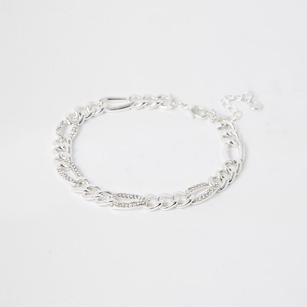 Silver colour diamante chain anklet