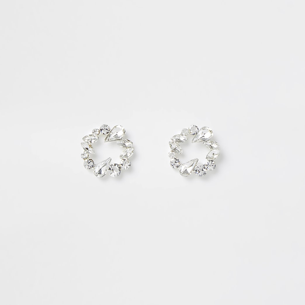 Silver colour diamante circle stud earrings