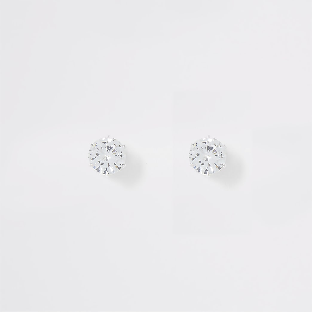 Silver colour diamante crown stud earrings