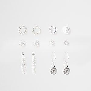 Silver colour diamante earring 6 pack