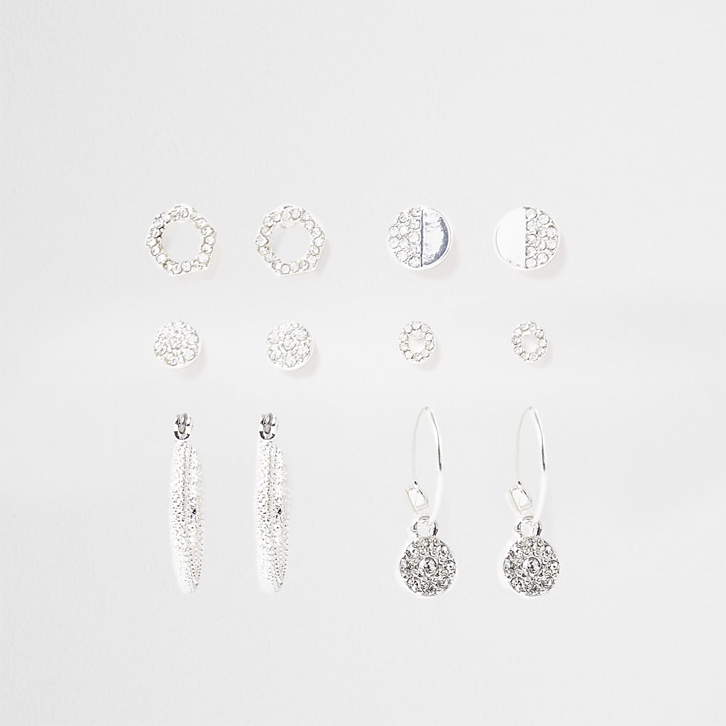 Silver colour diamante earring 6 pack