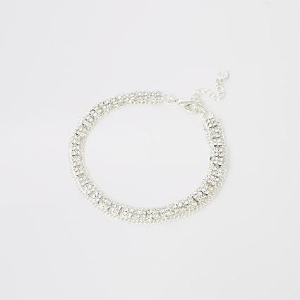 Silver colour diamante embellished anklet