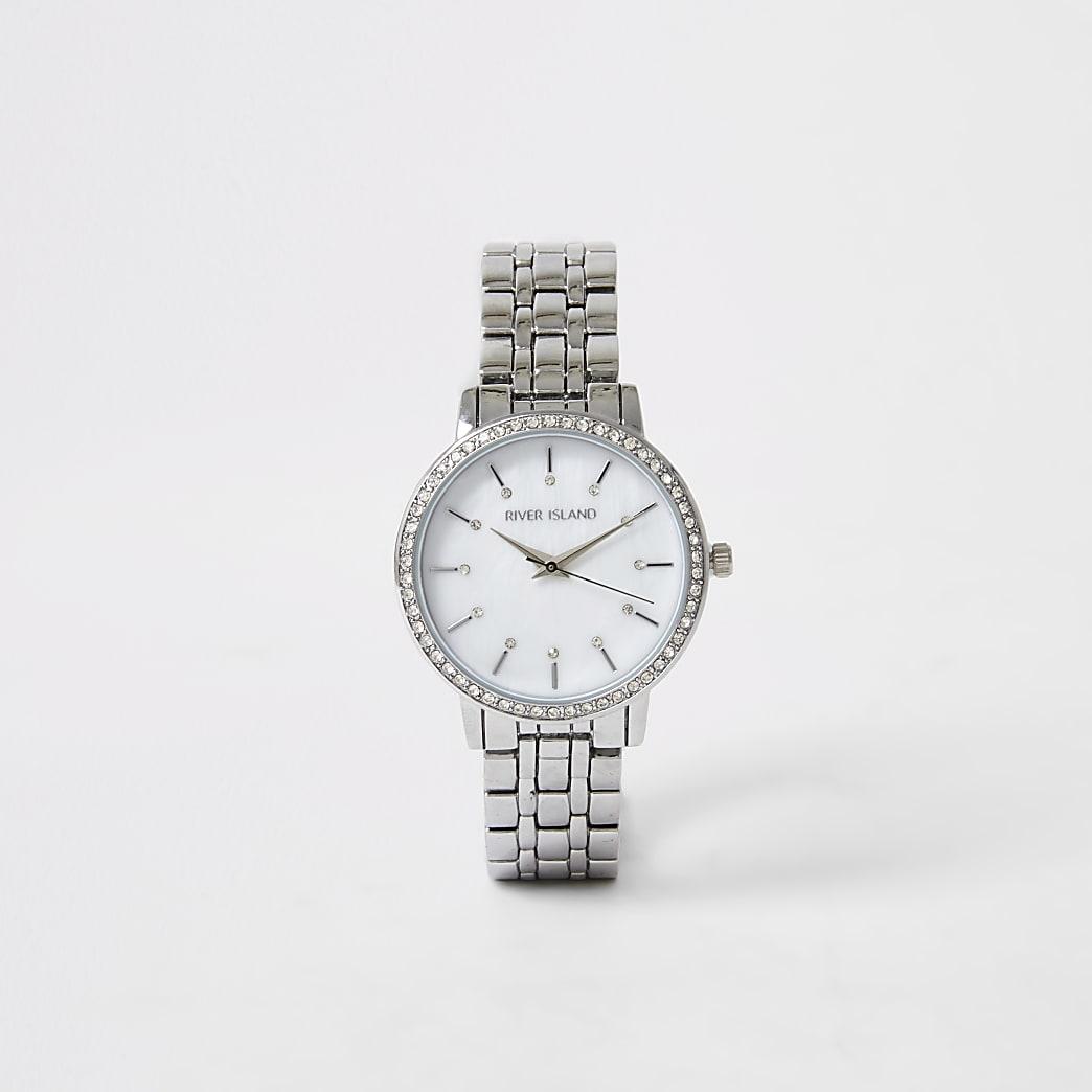 Silver colour diamante face watch