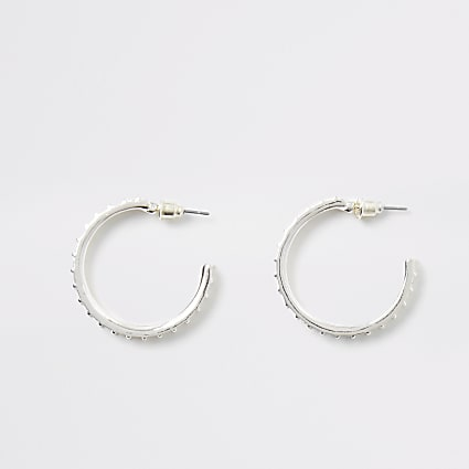 Silver colour diamante half hoop earrings