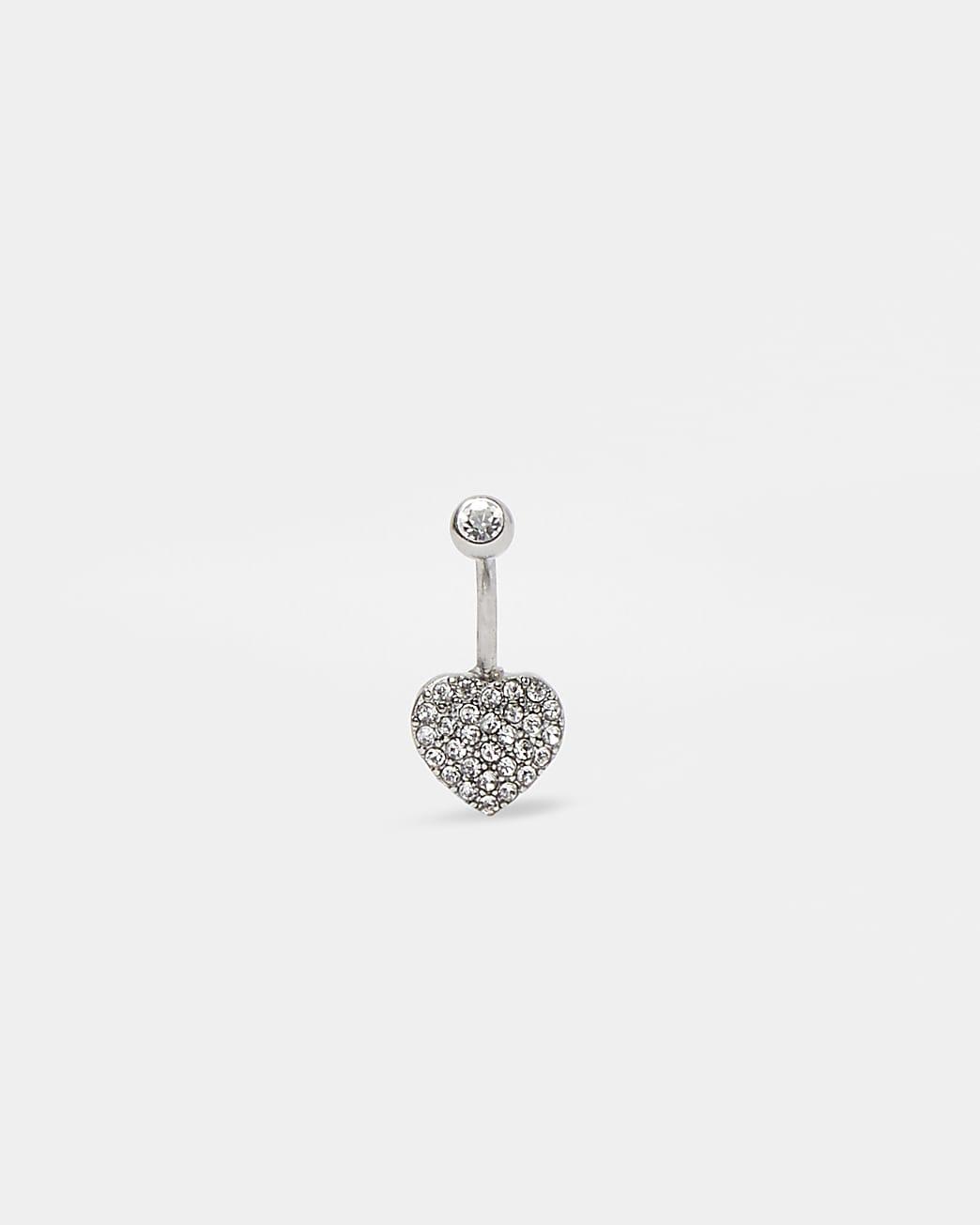 Silver colour diamante heart belly bar