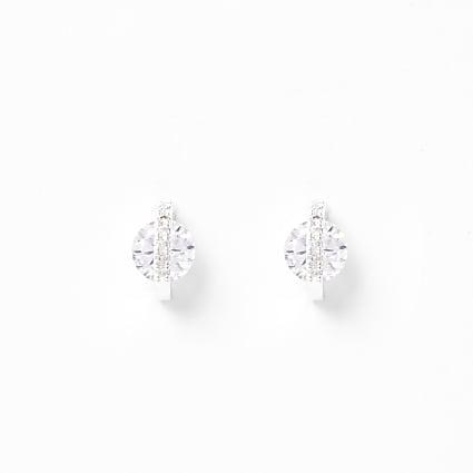 Silver colour diamante jewel stud earrings