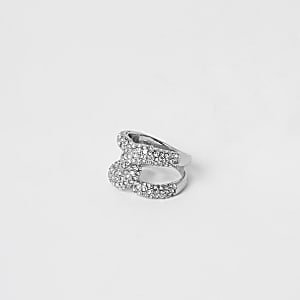 Silver colour diamante pave interlinked ring