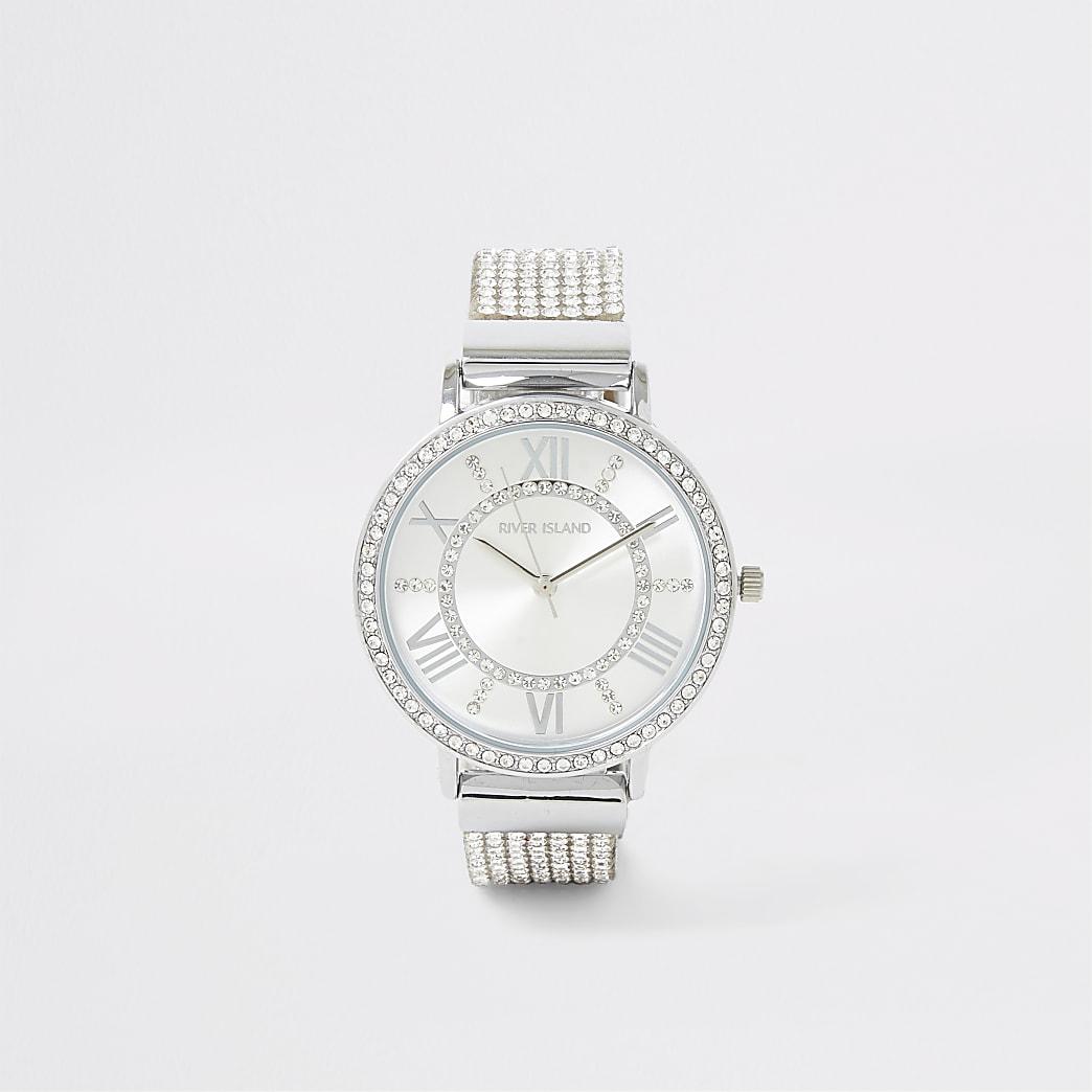 Silver colour diamante paved watch