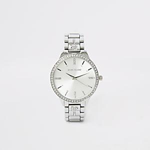 Zilverkleurig horloge met bandje met siersteentjes en RI-print