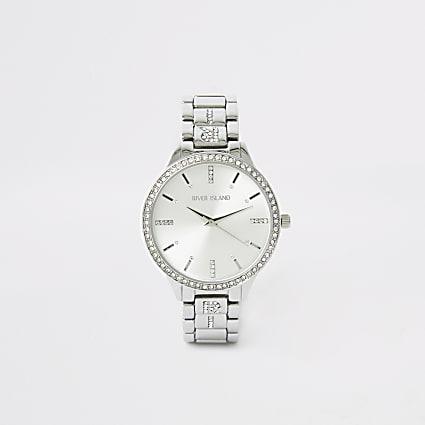 Silver colour diamante RI strap watch