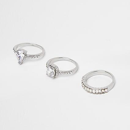 Silver colour diamante ring 3 pack