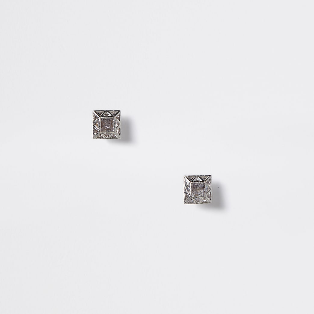 Zilverkleurige vierkanteoorknopjes met siersteentjes