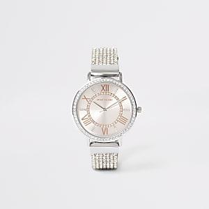 Zilverkleurig horloge met bandje met siersteentjes