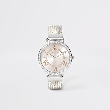 Silver colour diamante strap watch