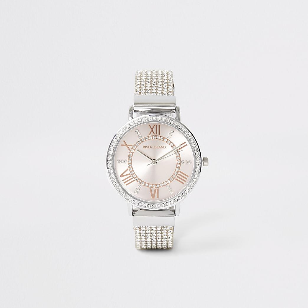 Silver colour diamante strap watch
