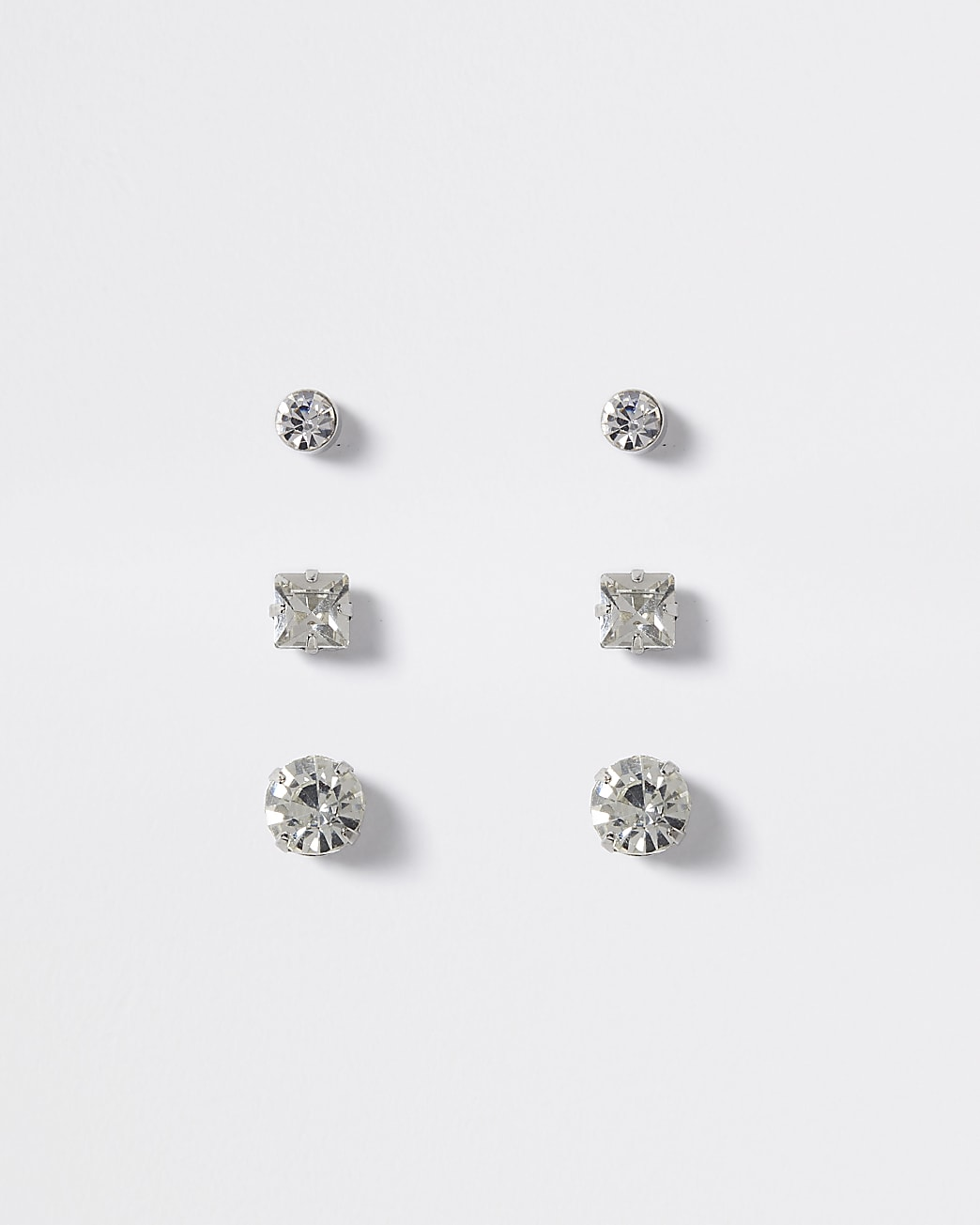 Silver colour diamante stud earrings 3 pack