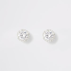 Silver colour diamante stud earrings