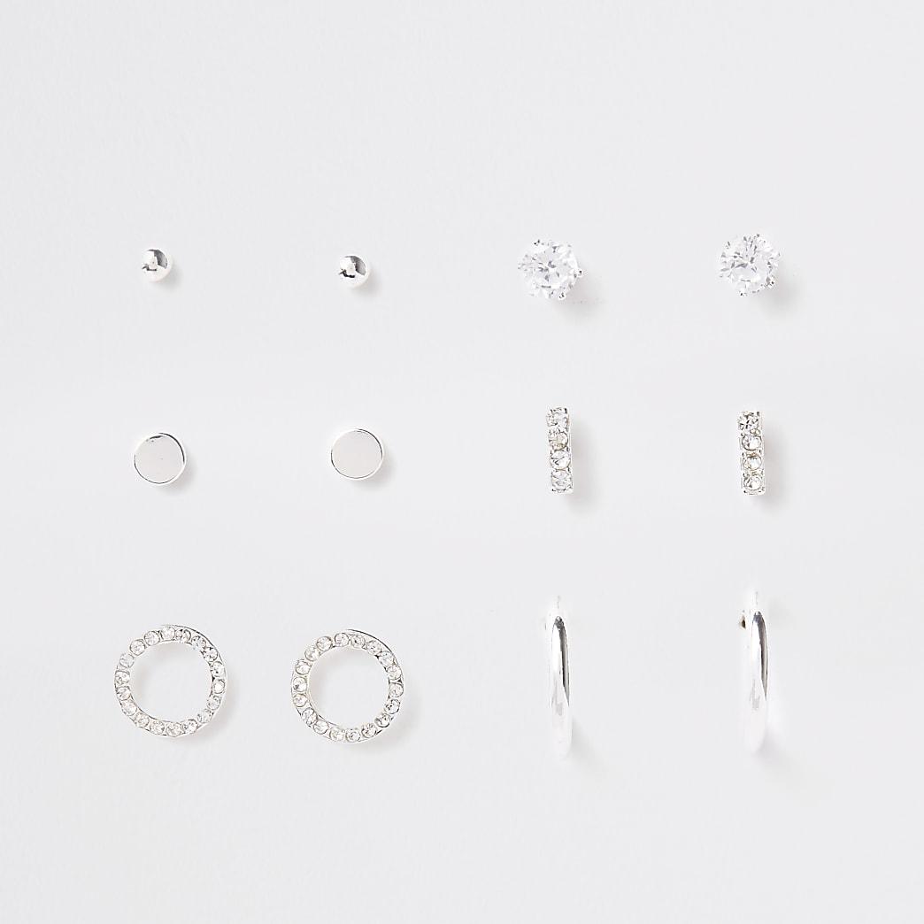 Multipack met zilverkleurige oorknopjes met siersteentjes