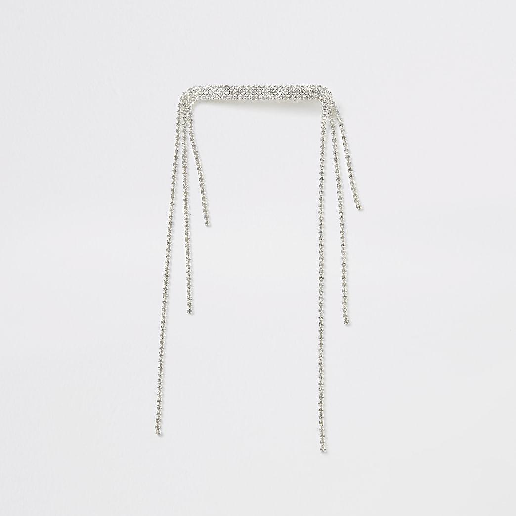 Silberne Haarspange mit strassbesetzter Quaste
