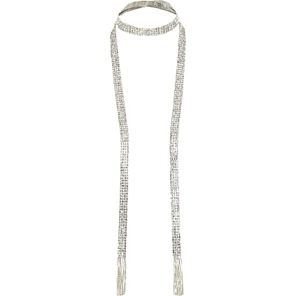 Silver colour diamante tassel scarf