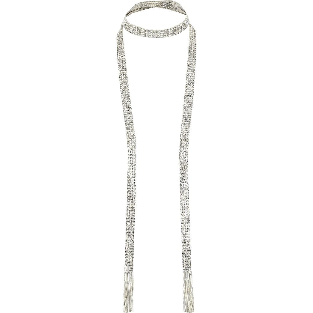 Silver colour diamante tassel scarf