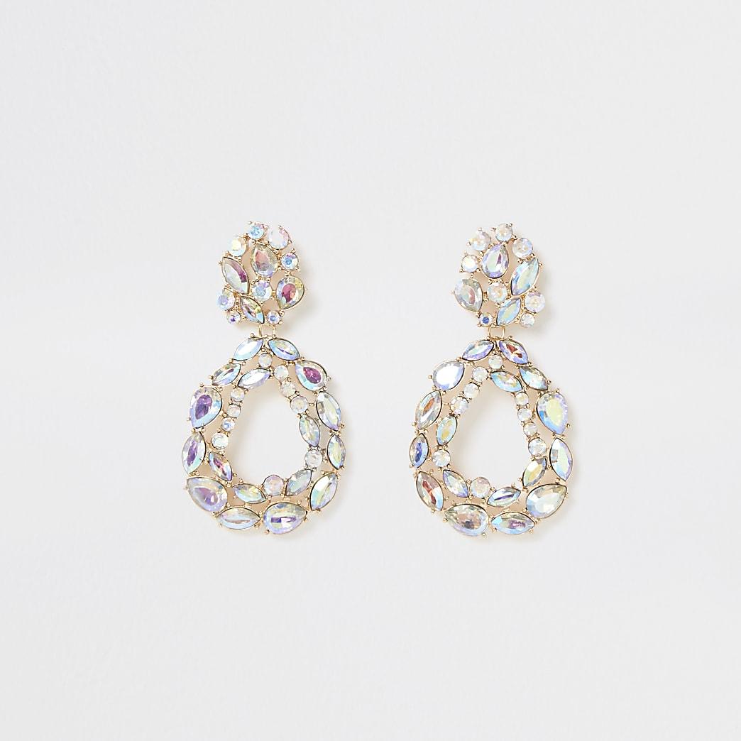 Silver colour diamante teardrop earrings