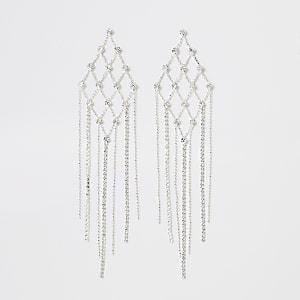 Silver colour diamante triangle earrings