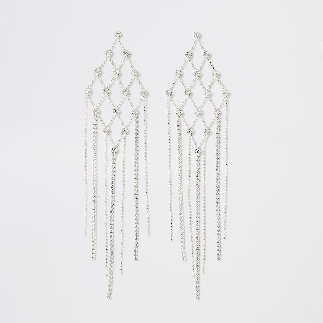 Silver colour diamante triangle earrings