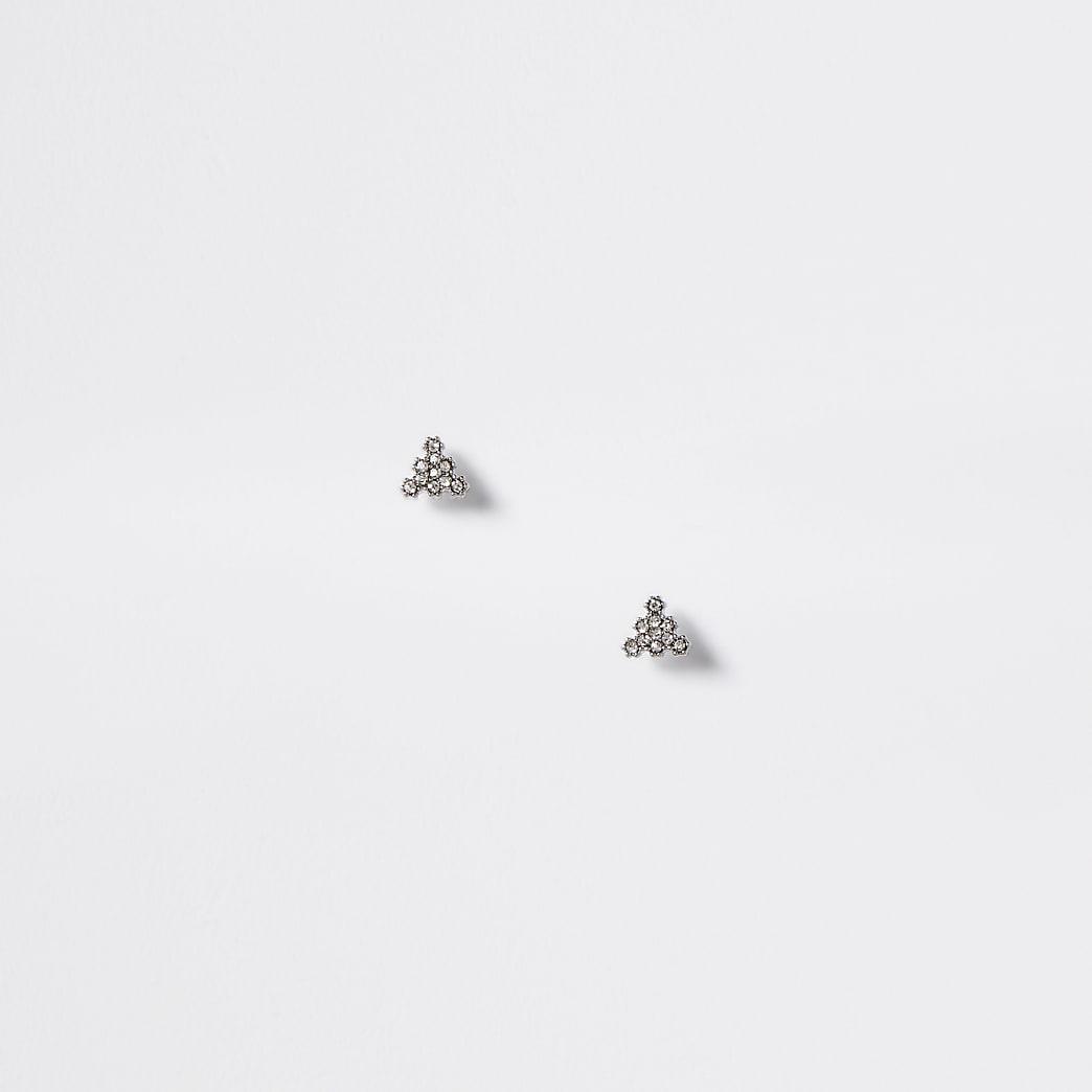 Zilverkleurige driehoekige oorknopjes met siersteentjes
