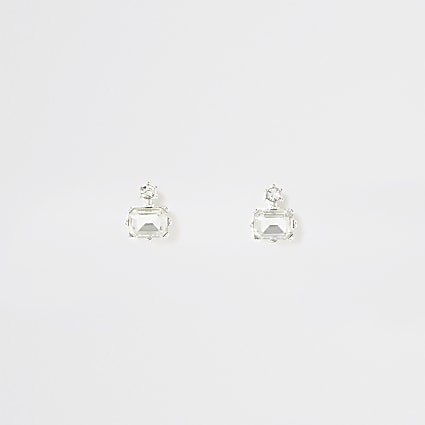 Silver colour diamond shape stud earrings